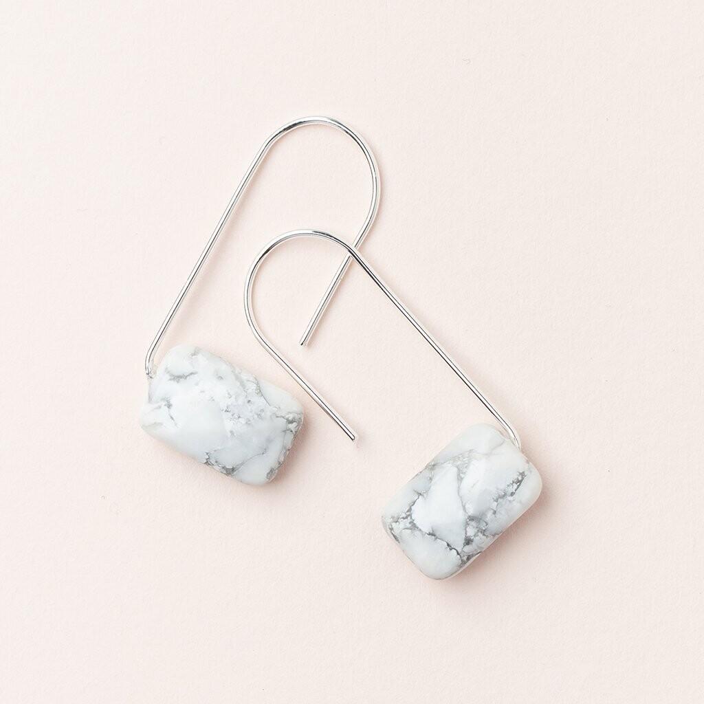 Floating Stone Earring - Howlite/Silver