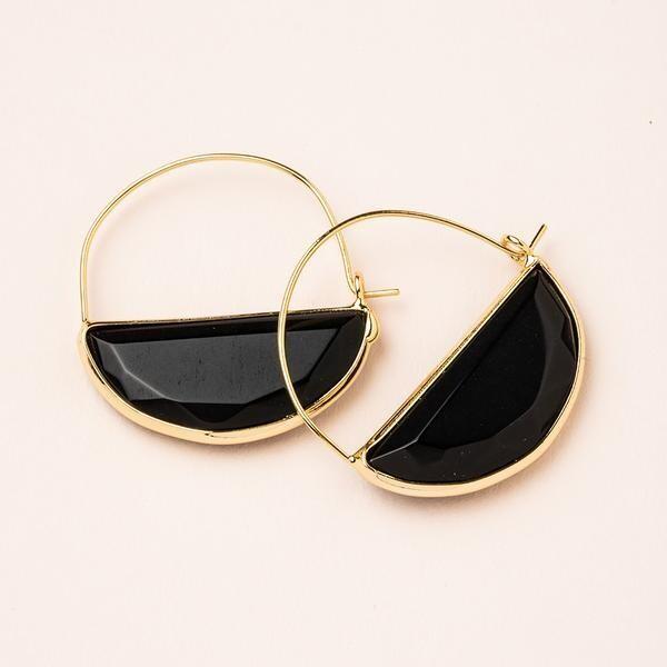 Stone Prism Hoop - Gold/Black Spinel