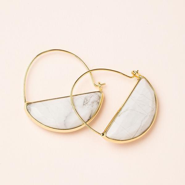 Stone Prism Hoop - Gold/Howlite