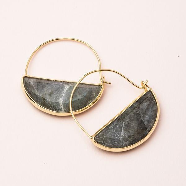 Stone Prism Hoop - Gold/Labradorite
