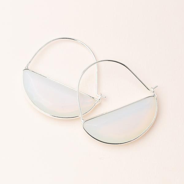 Stone Prism Hoop - Silver/Opalite