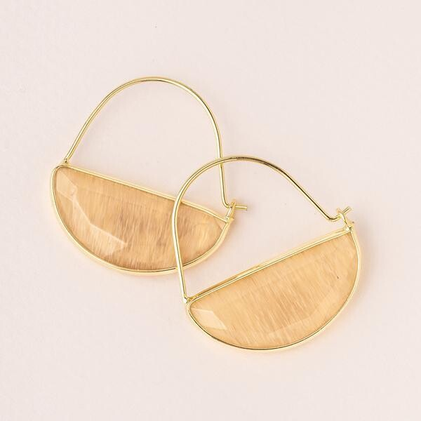 Stone Prism Hoop - Gold/Citrine