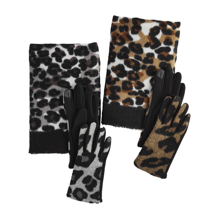 Leopard Scarf & Glove Set