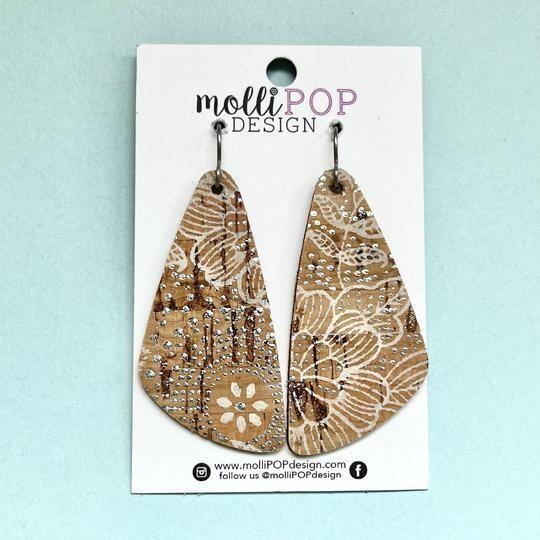 Natural Cork Earrings White & Silver Detail