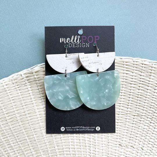 White Cork/Lt Blue Half Circle Earrings