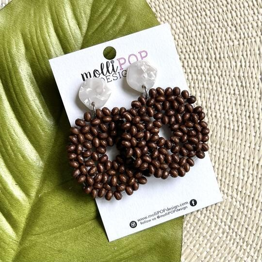 Dark Brown Rounds w/ White Stud Earring