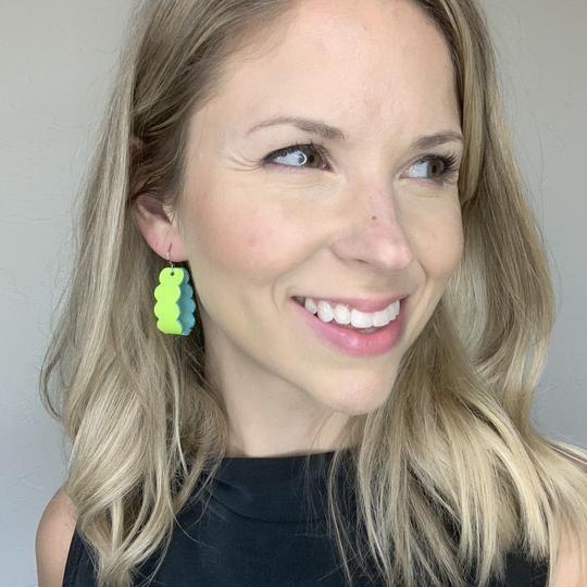 Neon Yellow Loop Earrings