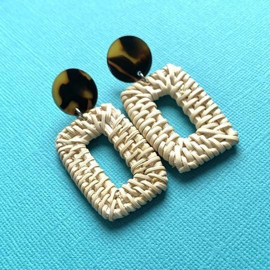 Rectangle Rattan & Tortoise Earrings
