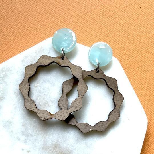Walnut Wood Wiggle Earrings