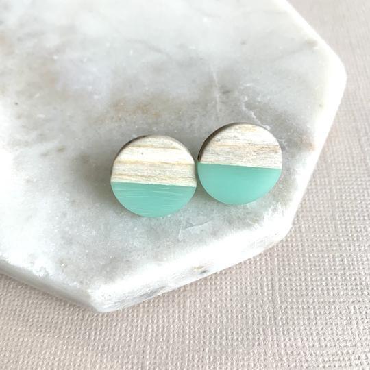 Light Wood & Green Stud Earrings