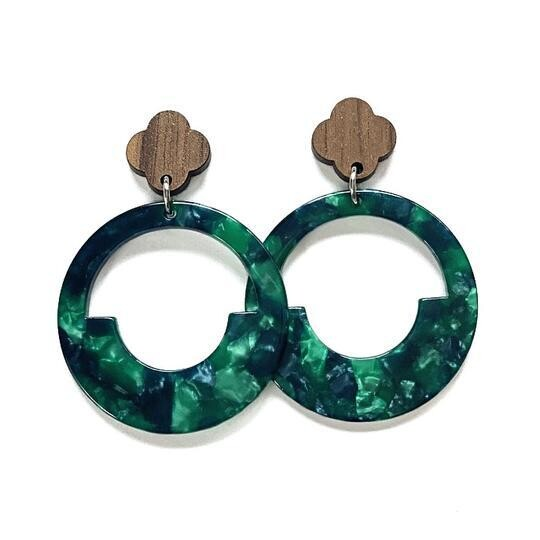 Dk Green/Blue Geometric Hoop Earring
