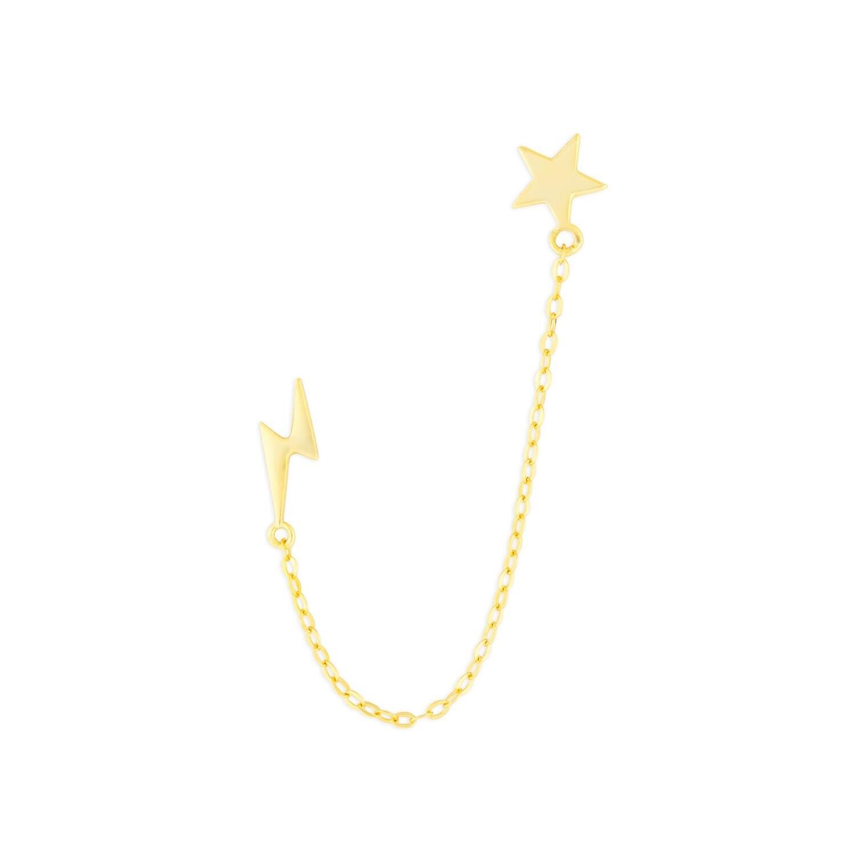 Star & Lightning Chain Studs