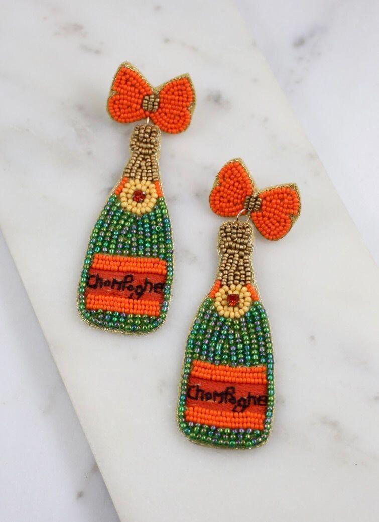 Champagne Beaded Earrings