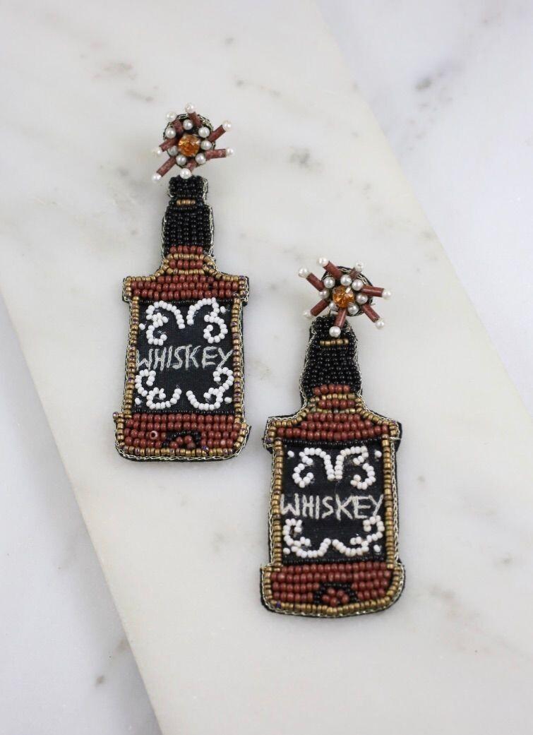 Whiskey Beaded Earrings