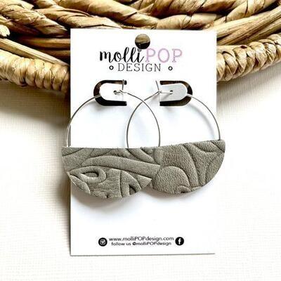 Grey Swirl Double-Sided Hoops