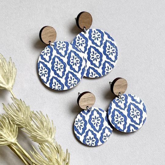 Blue & White Moroccan Cork Circle Earring