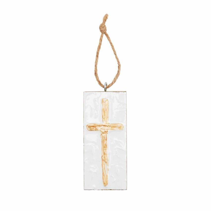 Gold Cross Wood Block Ornament