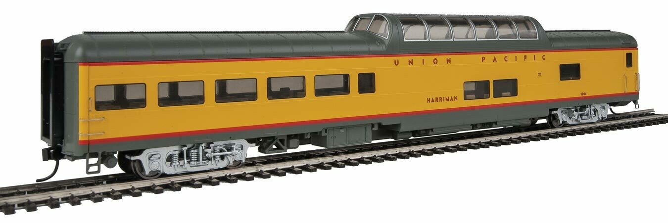 85' ACF Dome Lounge Union Pacific(R) Heritage Fleet - Ready to Run - Lighted -- UPP #9004 Harriman (Armour Yellow, gray, red)