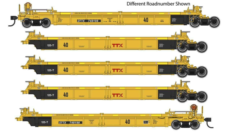 Thrall 5-Unit Rebuilt 40' Well Car - Ready to Run -- TTX DTTX #748227
