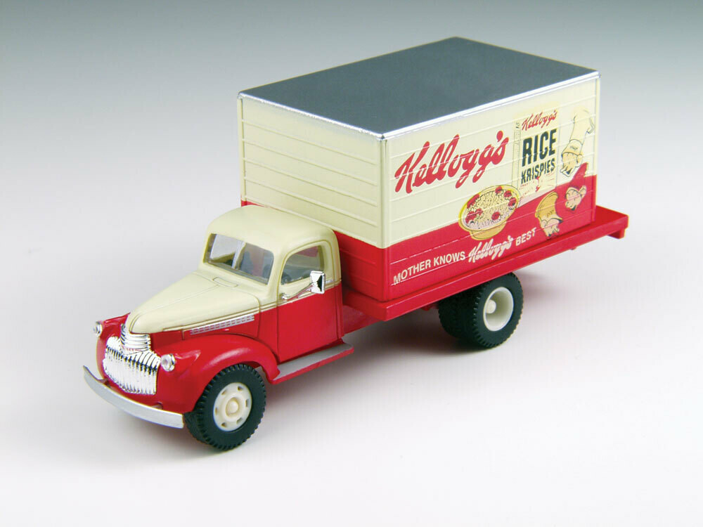 1941-1946 Chevrolet Box Delivery Truck - Assembled - Mini Metals(R) -- Kellogg's Cereals (red, white; Rice Krispies Logo)