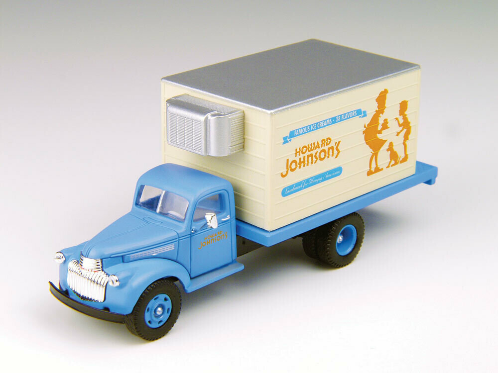 1941-1946 Chevrolet Reefer Truck - Assembled - Mini Metals(R) -- Howard Johnson's (blue, white, orange)