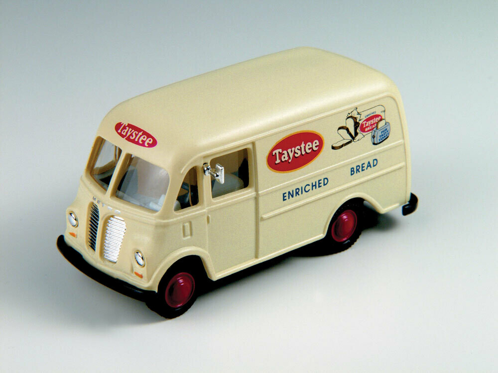 1940/50s International Harvester Metro Delivery Van - Assembled - Mini Metals -- Taystee Bread (white, red, blue)