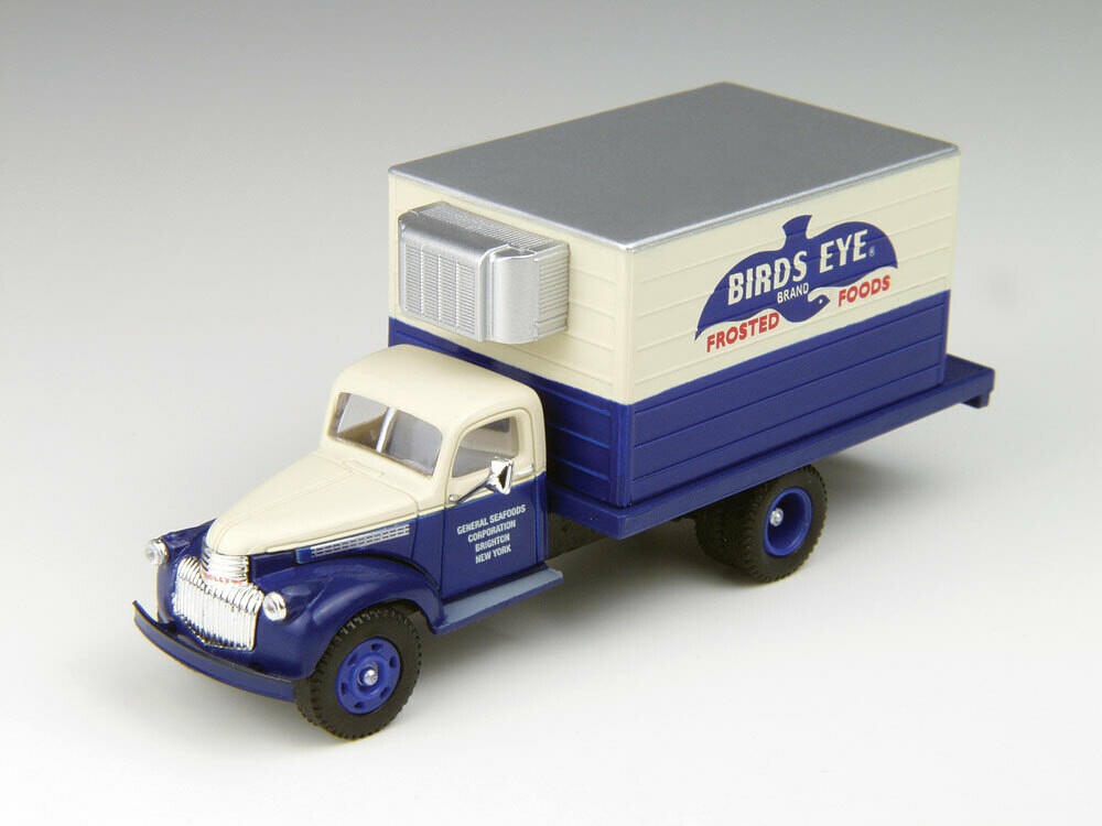 1941-1946 Chevrolet Reefer Truck - Assembled - Mini Metals(R) -- Bird's Eye Frosted Foods (blue, white)