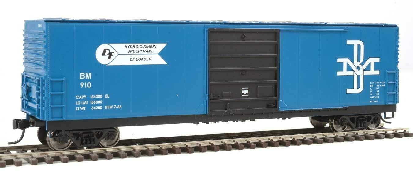 50' Evans Smooth-Side Boxcar - Ready to Run -- Boston & Maine #910 (blue, black)
