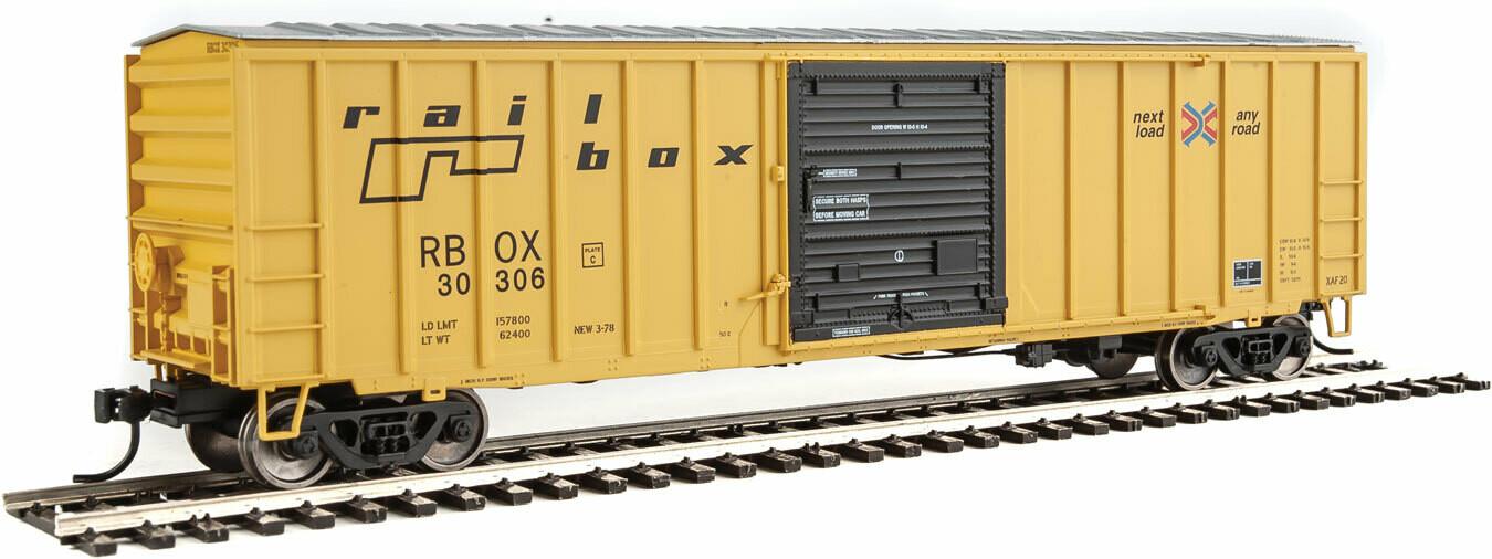 50' ACF Exterior Post Boxcar - Ready to Run -- Railbox #30306 (yellow, Black Door; Small Logo, Slogan)