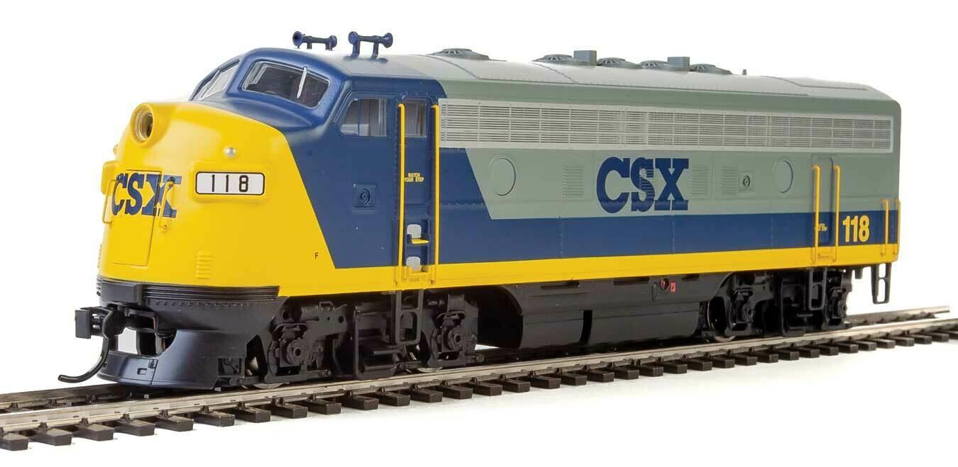 EMD F7 A - Standard DC -- CSX #118 (YN2, gray, blue, yellow)