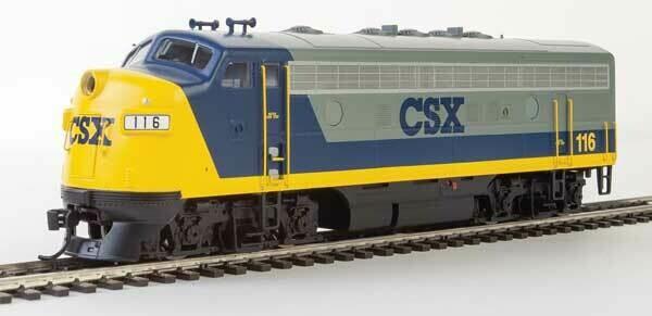 EMD F7 A-B Set - ESU Sound and DCC -- CSX Transportation #116, 117 (YN2; gray, blue, yellow)