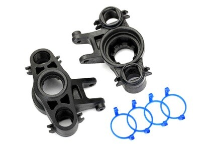 Axle carriers, left & right (1 each) (use with 8x16mm & 17x26mm ball bearings)/ dust boot retainers (4)