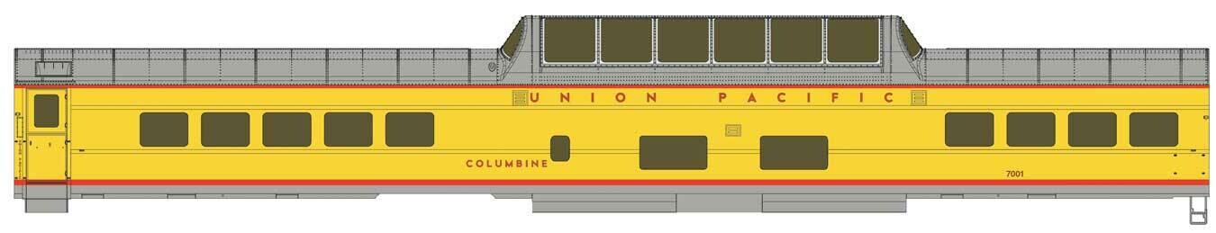 85' ACF Dome Coach Union Pacific(R) Heritage Fleet - Ready to Run - Standard -- UPP #7001