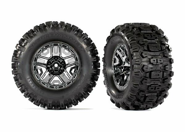 Tires & wheels, assembled, glued (black chrome 2.8' wheels, Sledgehammer