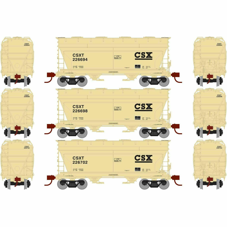 HO RTR ACF 2970 Covered Hopper, CSX/Tan (3)