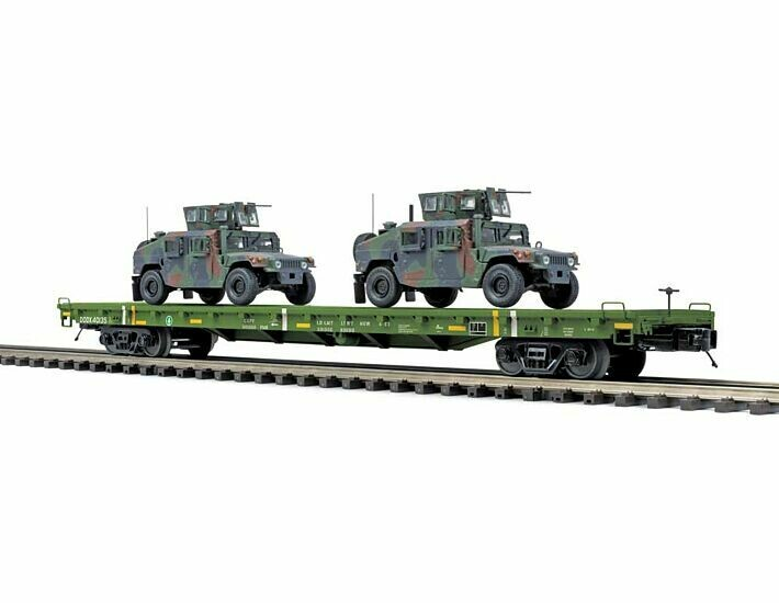 O 60' Flat Car w/(2) Humvee Vehicles, USARM #40135