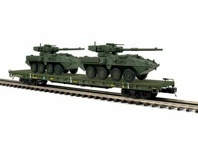 O 60' Flat Car w/ 2 Stryker Vehicles, USARM #40103