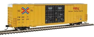 60' High-Cube Plate F Boxcar - Ready to Run -- TTX TBOX #661204 (yellow, black, Red TTX and Next Load Any Road Logos)