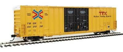 60' High-Cube Plate F Boxcar - Ready to Run -- TTX TBOX #662038 (yellow, black, Red TTX and Next Load Any Road Logos)