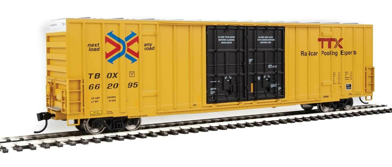 60' High-Cube Plate F Boxcar - Ready to Run -- TTX TBOX #662095 (yellow, black, Red TTX and Next Load Any Road Logos)