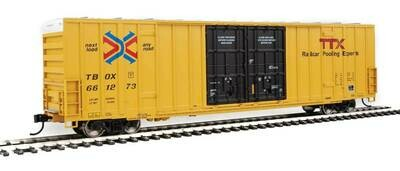 60' High-Cube Plate F Boxcar - Ready to Run -- TTX TBOX #661273 (yellow, black, Red TTX and Next Load Any Road Logos)