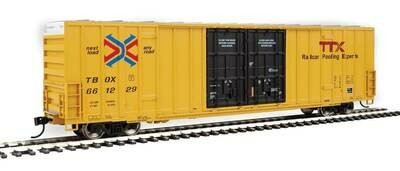 60' High-Cube Plate F Boxcar - Ready to Run -- TTX TBOX #661229 (yellow, black, Red TTX and Next Load Any Road Logos)