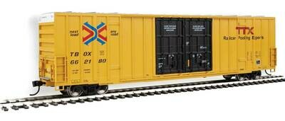 60' High-Cube Plate F Boxcar - Ready to Run -- TTX TBOX #662180 (yellow, black, Red TTX and Next Load Any Road Logos)