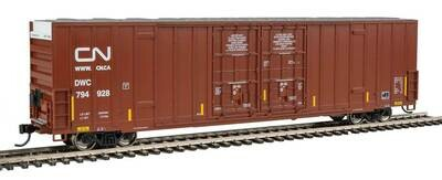 60' High-Cube Plate F Boxcar - Ready to Run -- Canadian National DWC #794928 (Boxcar Red, Website Noodle Logo)
