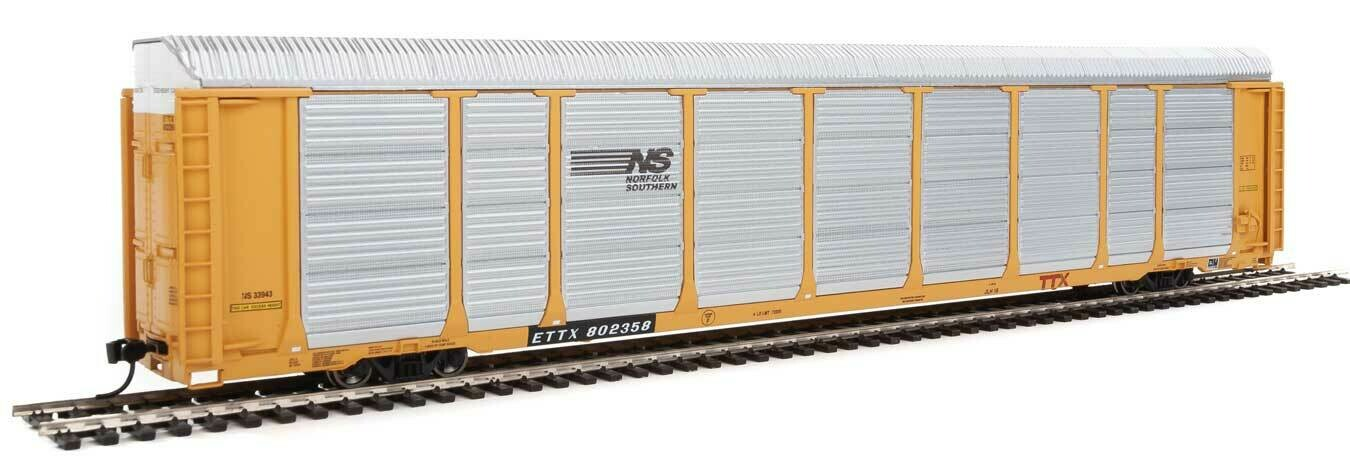 89' Thrall Enclosed Tri-Level Auto Carrier - Ready to Run -- Norfolk Southern Rack ETTX Flat #33943/802358 (yellow, silver, bla