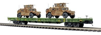 O 60' Flat Car w/ 2 Humvee Vehicles, USARM #40180