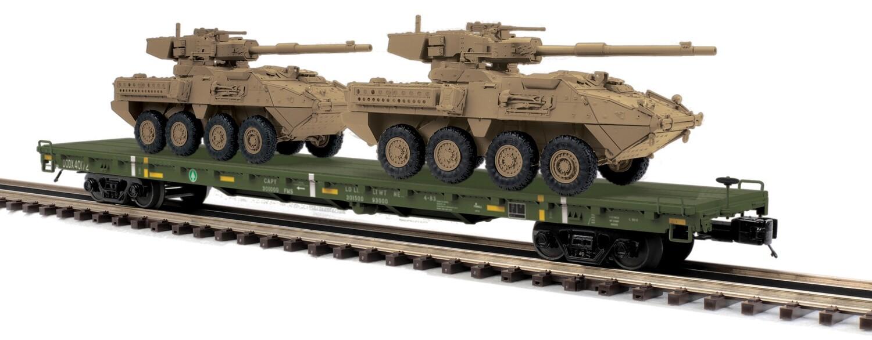 O 60' Flat Car w/ 2 Stryker Vehicles, USARM #40172
