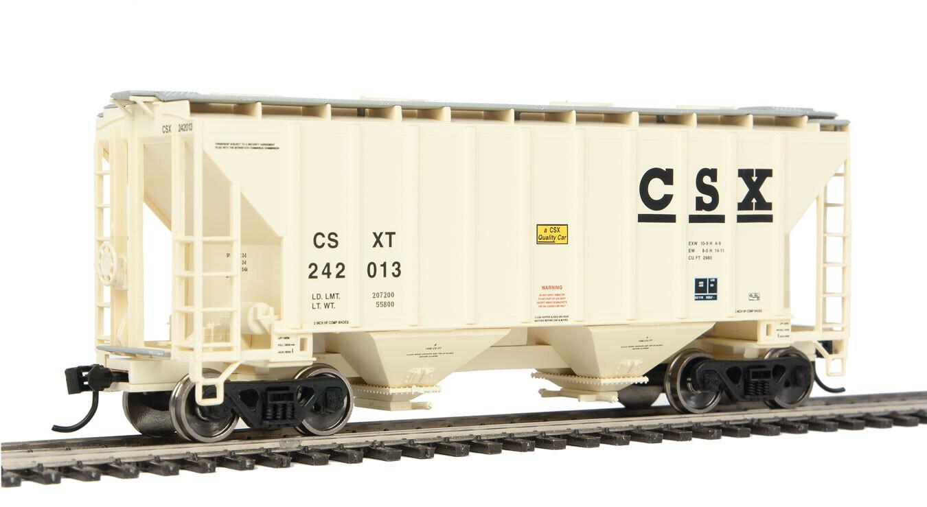 37' 2980 Cubic-Foot 2-Bay Covered Hopper - Ready to Run -- CSX Transportation #242013