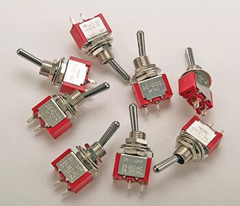 Miniature Single Pole, Single Throw SPST Toggle Switch -- On/Off 5-Amp 120V pkg(8)