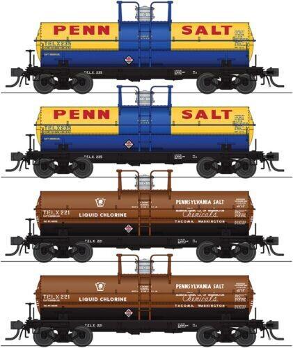 6000-Gallon Tank Car 4-Pack - Ready to Run -- Penn Salt TELX #235, 237, 221, 223 (2 Each: blue & yellow, brown)